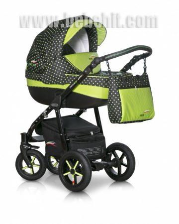 Бебешка количка PEPE Eco 3в1 + чадър цвят: черен/зелени точки