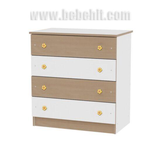 Скрин Lorelli 4 чекмеджета цвят: бял/бук
