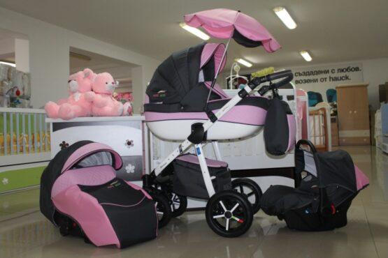 Бебешка количка PEPE Eco 3в1 + чадър цвят: сив/розов