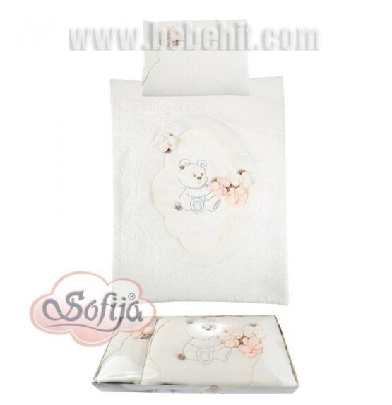 Спален комплект Мече с цветя 5части; цвят: екрю