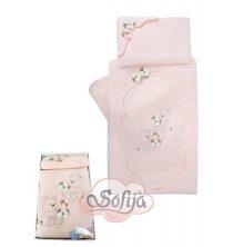Спален комплект Мече с цветя 5части; цвят: праскова