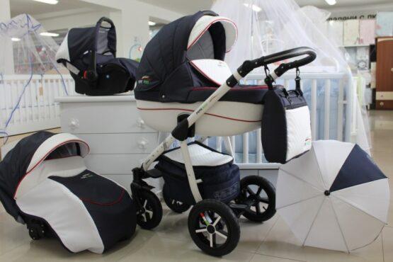 Бебешка количка PEPE Eco 3в1 + чадър цвят: тъмно-синьо/бяло/червено