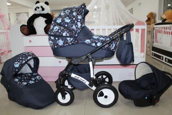 Бебешка количка Armel 3в1; цвят: син/бухалчета