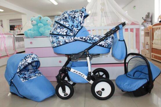Бебешка количка Armel 3в1; цвят: син/цветя