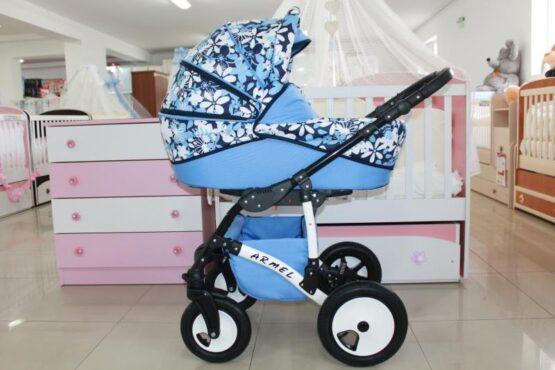 Бебешка количка Armel 2в1; цвят: син/цветя