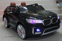 Акумулаторна кола BMW за две деца; цвят: черен
