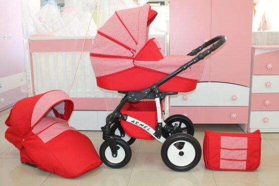 Бебешка количка Armel 2в1; цвят: розов/червен