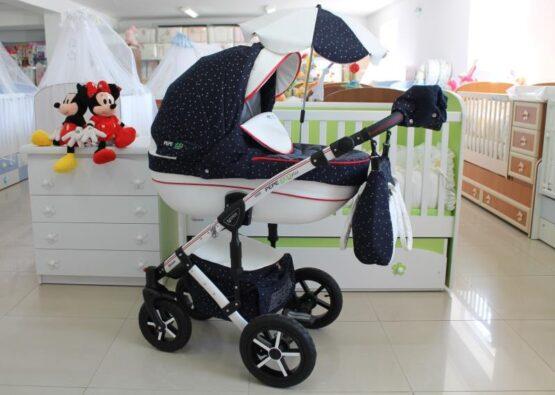 Бебешка количка PEPE Eco Dynamic 3в1 + чадър цвят: тъмно-син/точки
