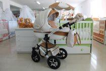 Бебешка количка PEPE Eco Dynamic 3в1 + чадър цвят: крем/бежов