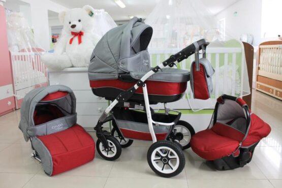 Бебешка количка City GO 3в1; цвят: сив/червен