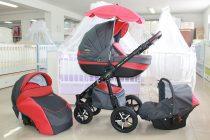 Бебешка количка PEPE Eco 3в1 + чадър цвят: сиво/червен
