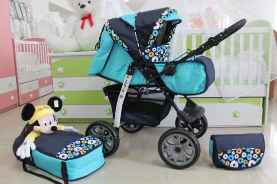 Бебешка количка Picnic; цвят: аквамарин/тъмно-син