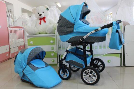 Бебешка количка Monica 2в1; цвят: син/сив