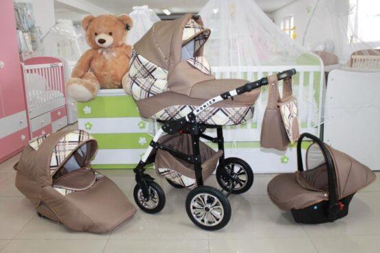 Бебешка количка Monica 3в1; цвят: бежов/каре