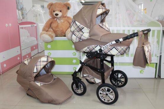 Бебешка количка Monica 2в1; цвят: бежов/каре