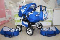 Бебешка количка за близнаци Enzo цвят: син/кръгчета