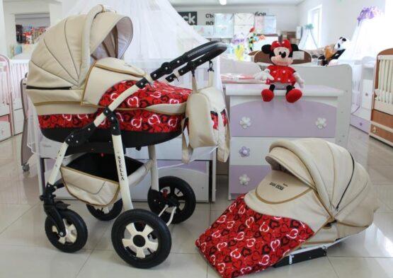 Бебешка количка Stella 2в1; цвят: крем/червен