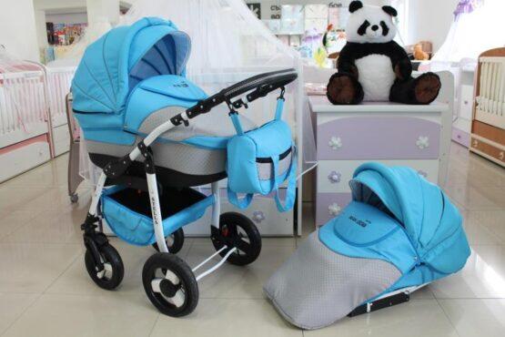 Бебешка количка Stella 2в1; цвят: сив/син
