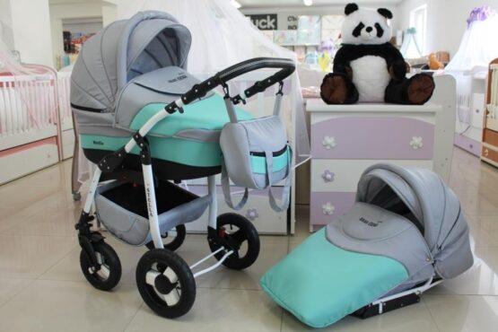Бебешка количка Stella 2в1; цвят: сив/зелен