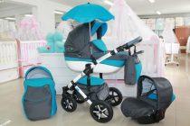 Бебешка количка PEPE Eco Plus 3в1 + чадър;цвят: сиво/синьо
