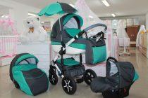 Бебешка количка PEPE Eco Plus 3в1 + чадър цвят: сив/малахит