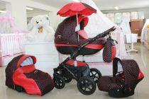 Бебешка количка PEPE Eco Plus 3в1 + чадър цвят: черен/червени точки