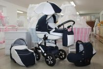 Бебешка количка PEPE Eco Plus 3в1 + чадър цвят: тъмно-синьо/бяло