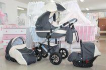 Бебешка количка PEPE Eco Plus 3в1 + чадър цвят: сив/крем