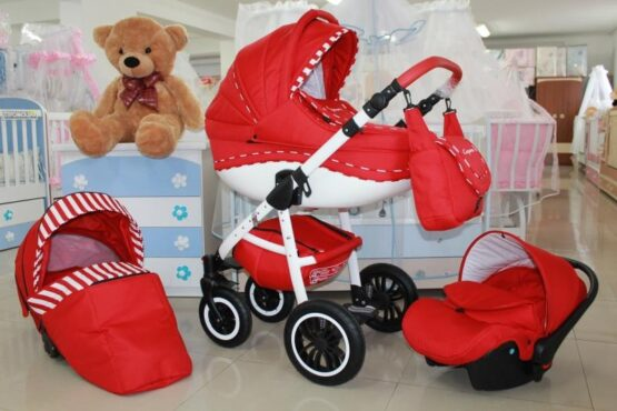 Бебешка количка Cayenne 3в1; цвят: червен