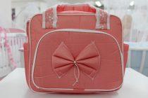Чанта за количка Миси Lux; цвят: праскова с панделка