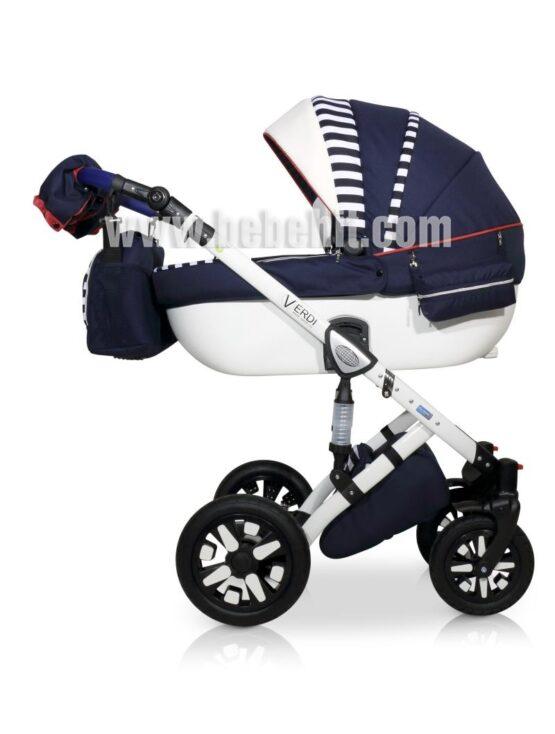 Бебешка количка Eclipse 3в1; цвят: тъмно-син/райе