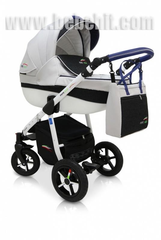 Бебешка количка PEPE Eco 3в1 + чадър цвят: бял/син