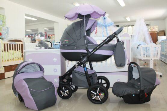 Бебешка количка PEPE Eco 3в1 + чадър цвят: сив/лилав