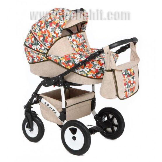 Бебешка количка Armel 3в1; цвят: крем/цветя