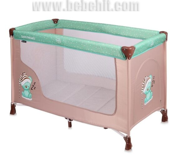 Бебешка кошара San Remo 1 ниво; цвят: зелен/крем