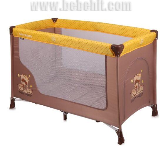 Бебешка кошара San Remo 1 ниво; цвят: жълт/кафяв