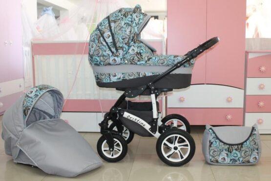 Бебешка количка Cristina 2в1; цвят: сив