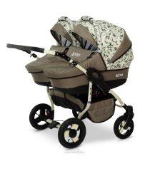 Бебешка количка за близнаци Twin; цвят: бежов/шарки