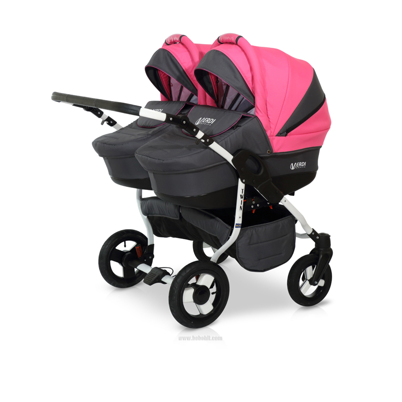 Бебешка количка за близнаци Twin; цвят: розов