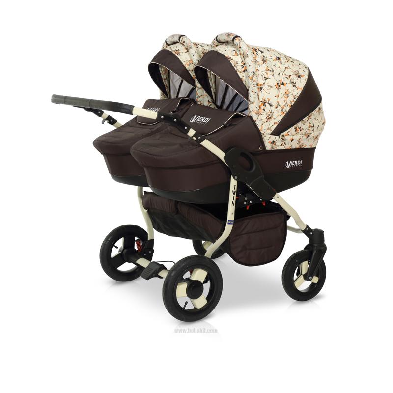 Бебешка количка за близнаци Twin; цвят: кафяв/шарки