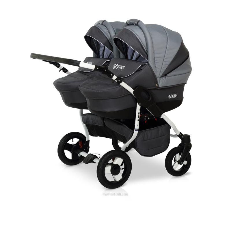 Бебешка количка за близнаци Twin; цвят: сив