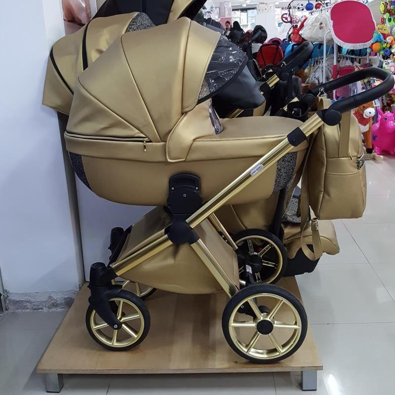 Бебешка количка Азуро 3в1; цвят: златен