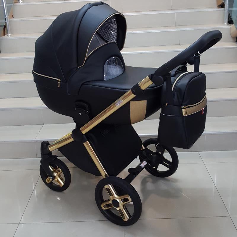 Бебешка количка Азуро 3в1; цвят: черен/златен