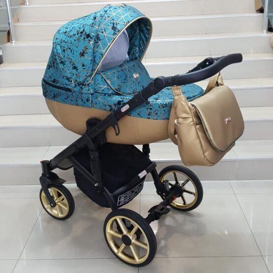 Бебешка количка Ферара Голд 3в1; цвят: малахит