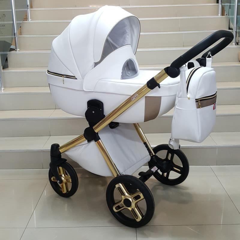 Бебешка количка Азуро 3в1; цвят: бял