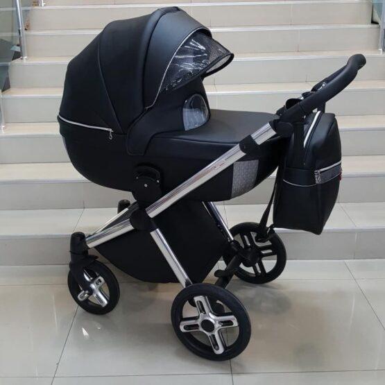 Бебешка количка Азуро 3в1; цвят: черен/сребърен