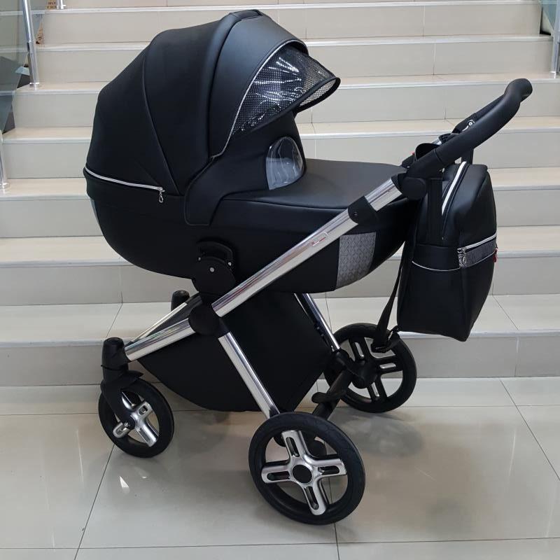Бебешка количка Азуро 2в1; цвят: черен/сребърен