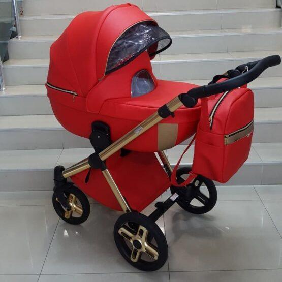 Бебешка количка Азуро 2в1; цвят: червен/златен