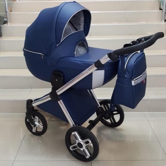 Бебешка количка Азуро 3в1; цвят: син/сребърен