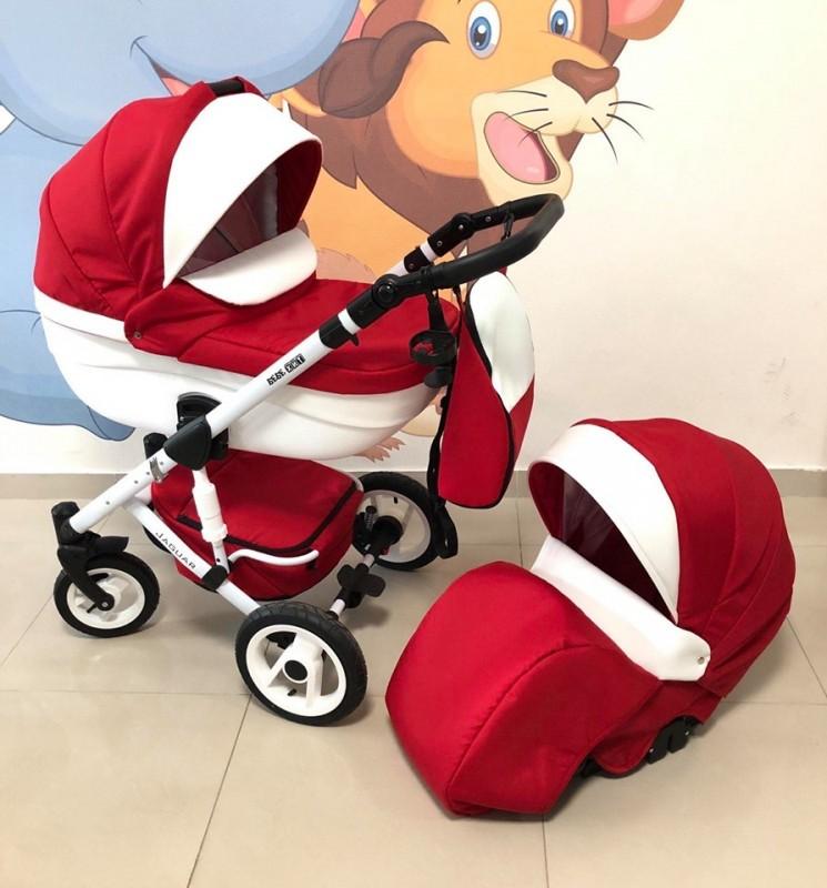 Бебешка количка Ягуар 2в1; цвят: червен/бял